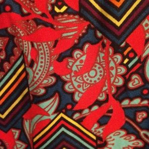 LulaRoe TC2 Leggings, red print, NEW